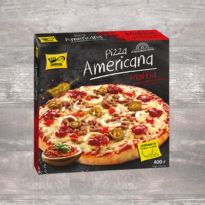 "Pizza with beef, jalapeno pepper and salsa sauce ""Americana MAFFIA"" ""KINFOOD"""