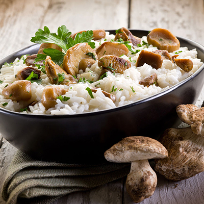 Risotto with vegetables and field mushrooms
